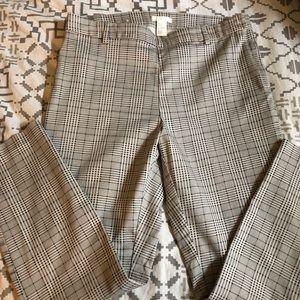 Side-zip Plaid Ankle Pants